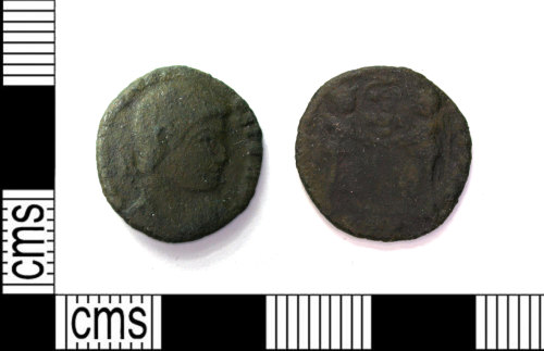 LEIC-F3BE15: Roman copper alloy nummus of Magnentius, 350-3