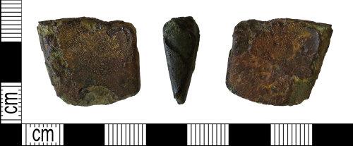 LEIC-F41B99: Bronze age copper alloy chisel fragment, 1000-800 BC
