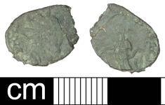 A resized image of Roman coin: irregular (barbarous) radiate copying unclear emperor