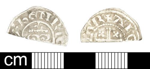 SOM-056204: Medieval coin: cut halfpenny of John
