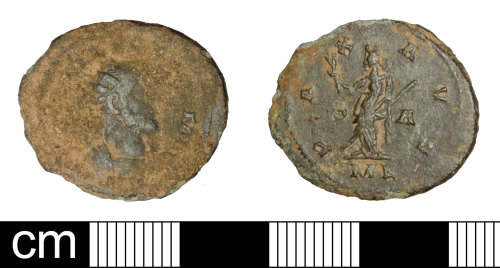 SOM-125D95: Roman coin: radiate of Allectus