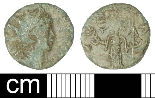 SOM-56EEC3: Roman coin: irregulat (barbarous) radiate copying a coin of Tetricus II