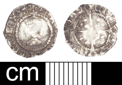 SOM-779C42: Post Medieval coin: halfpenny of Henry VIII