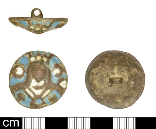 SOM-7F1702: Post Medieval Stuart Enamel button