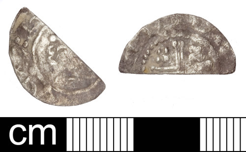 SOM-978FB3: Medieval coin: cut half penny of Henry II