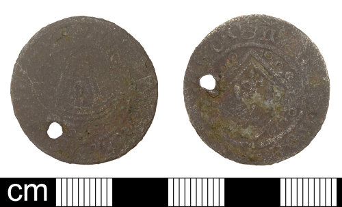 SOM-A33F82: Post Medieval jetton of anonymous Nuremberg issuer 'Ship penny' type