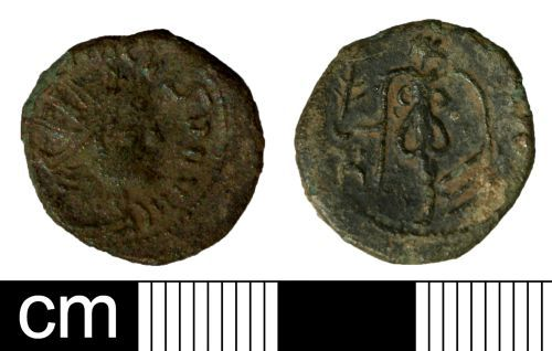 SOM-AF6B92: Roman coin: irregular (barbarous) radiate copying a type of Tetricus II