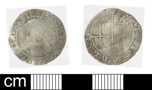 SOM-05A5D8: Post Medieval coin: threepence of Elizabeth I