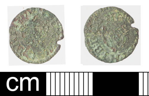 SOM-0774F5: Post medieval coin: farthing of James I