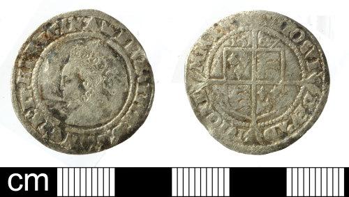 SOM-0890D9: Post-medieval coin:sixpence of Elizabeth I