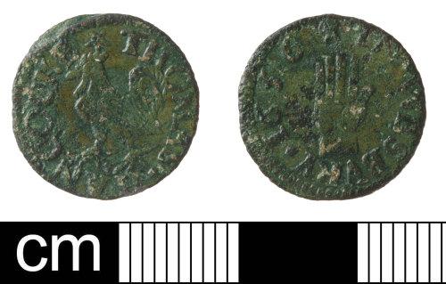 SOM-08F4F6: Post-medieval trade token: farthing  Thomas Hancock