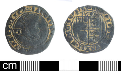 SOM-35DCA1: Post Medieval coin: sixpence of James I
