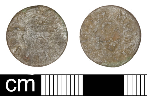 SOM-40249F: Post-medieval trade token: farthing issued by John Clothier in Montacute