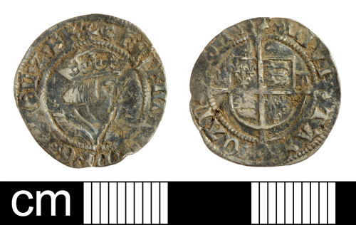 SOM-4C3A2D: Post medieval coin: halfgroat of Henry VIII