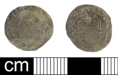 SOM-5BDB7C: Post Medieval coin: penny of Elizabeth I