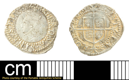 SOM-78C1FC: Post-medieval coin: penny of Elizabeth I