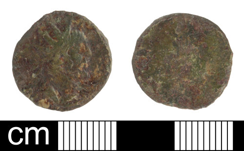 SOM-9871DB: Roman coin: contemporary copy, probably of a radiate of Victorinus