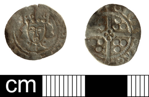 A resized image of Medieval coin: penny probably of Henry VI, restored