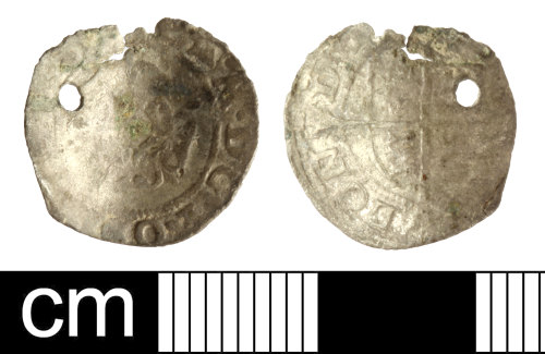 SOM-B4CA00: Post Medieval coin: base silver penny of Philip and Mary