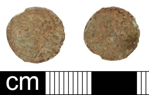 SOM-D86163: Roman coin: contemporary copy of a nummus of the House of Constantine