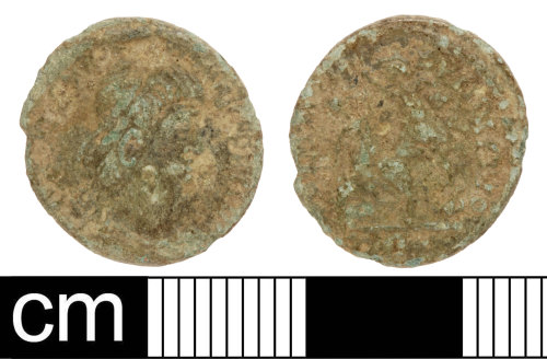 SOM-D97B0A: Roman coin: contemporary copy of a nummus of the House of Constantine
