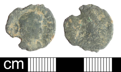 SOM-EAED1B: Pierced Roman coin: nummus, probably of the House of Valentinian