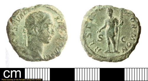 A resized image of Roman coin: dupondius of Severus Alexander