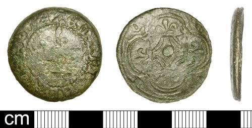 SOM-2D7ED0: Medieval button made from jettons