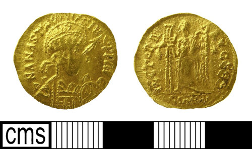 IOW-D7CB55: Early Medieval Coin: Gold Gallic contemporary copy of a Solidus of Anastasius (491-518), possibly of the Pseudo-Merovingian coinage, c. 500-580