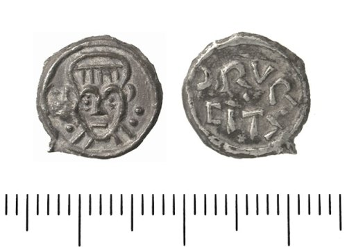 IOW-D62B15: Clipped penny of Archbishop Wulfred of Canterbury. Group VII. Baldred type (c. 823-5). North 239.