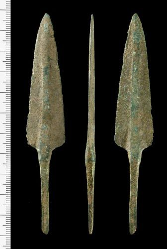 IOW-221956: Incomplete cast bronze spearhead of Early Bronze Age, Arreton Down Metalworking Tradition (1650 BC - 1500 BC).