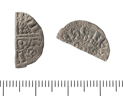 IOW-F306A1: Medieval Coin: Cut halfpenny of Henry III.