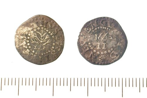 IOW-D80EF7: New England twopence (1662). Oak tree type.