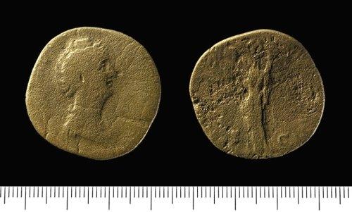 IOW-D66CA2: Roman Coin: Sestertius of Faustina the Elder.
