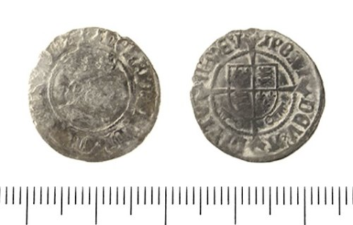 IOW-57A845: Post Medieval Coin: Half Groat of Henry VII.