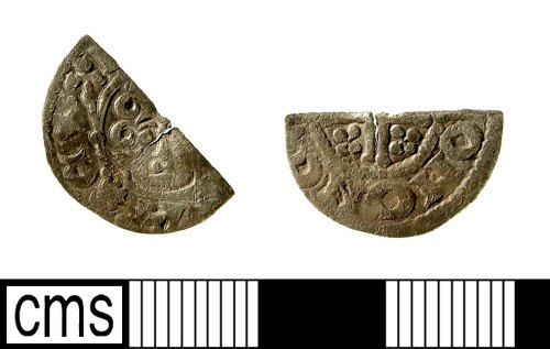 IOW-22B2F3: Medieval Coin: Cut Halfpenny of John