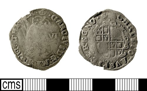 IOW-28E1C7: Post-Medieval Coin: Sixpence of Charles I