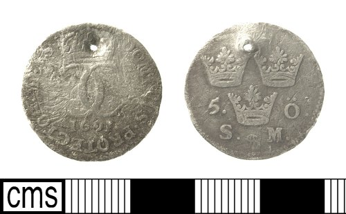 IOW-8C1D56: Post-Medieval Coin: Swedish Five Ore of Carl XI