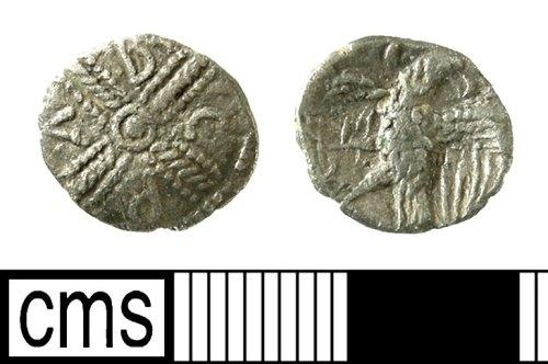 IOW-DA10F4: Iron Age Coin: Inscribed silver 'CRAB' Stater