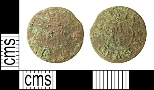 IOW-D58D62: Post-Medieval Token Farthing of Anthony Maynard, Apothecary of Newport, Isle of Wight. c. 1664