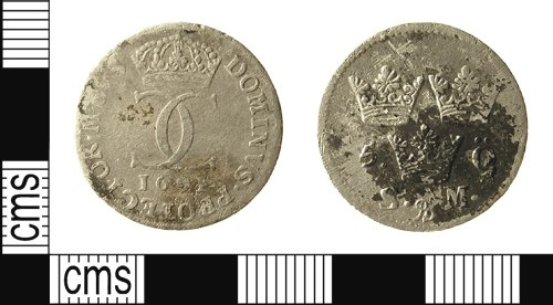 IOW-2AABE5: Post-Medieval Coin: Five öre of Carl XI of Sweden