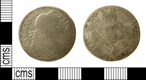 IOW-328BE2: Post-Medieval Coin: Shilling of Charles II