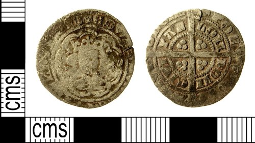 IOW-015DA1: Medieval Coin: Halfgroat of Edward III