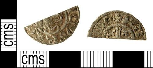 IOW-E3D2A6: IOW-E3D2A6 Medieval Coin: Cut Halfpenny of John
