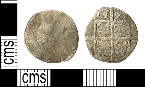 IOW-E11987: IOW-E11987 Post-Medieval Coin: Threepence of Elizabeth I