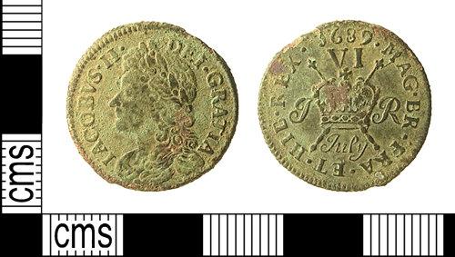 IOW-B25B68: IOW-B25B68 Post-Medieval Coin: Irish Sixpence of James II ('gun money')