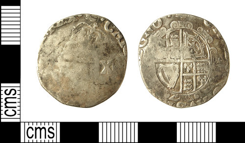 IOW-2C22E1: IOW-2C22E1 Post-Medieval Coin: Shilling of Charles I