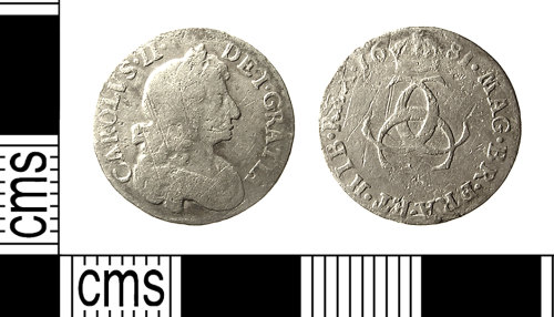 IOW-260557: IOW-260557 Post-Medieval Coin: Threepence of Charles II