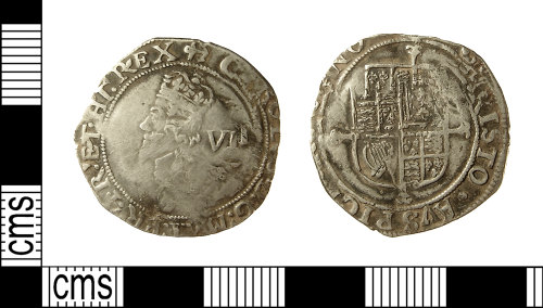IOW-3C1EB5: Post-Medieval Coin: Sixpence of Charles I