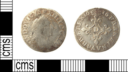 IOW-9C3035: IOW-9C3035 Post-Medieval Coin: Sol-piece of Louis XIV of France